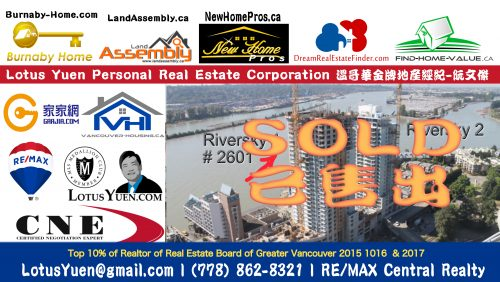 SOLD 2601 Riversky 1 New Westminster by Lotus Yuen PREC