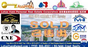 Metrotown公寓已經出售:4609 4670 ASSEMBLY WAY本那比