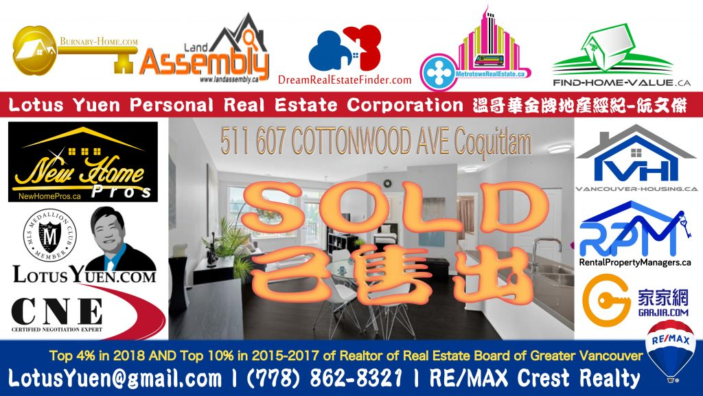 SOLD - 511 607 COTTONWOOD AVE Coquitlam