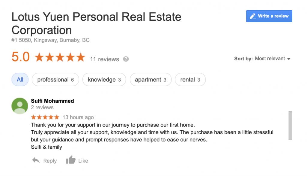 另一個好購房者的好評 - Lotus Yuen PREC