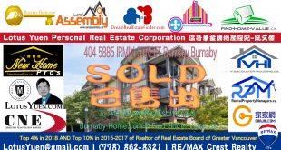 Metrotown公寓已經出售:404 5885 IRMIN STREET,本那比